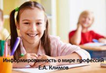 Информированность о мире профессий Климов